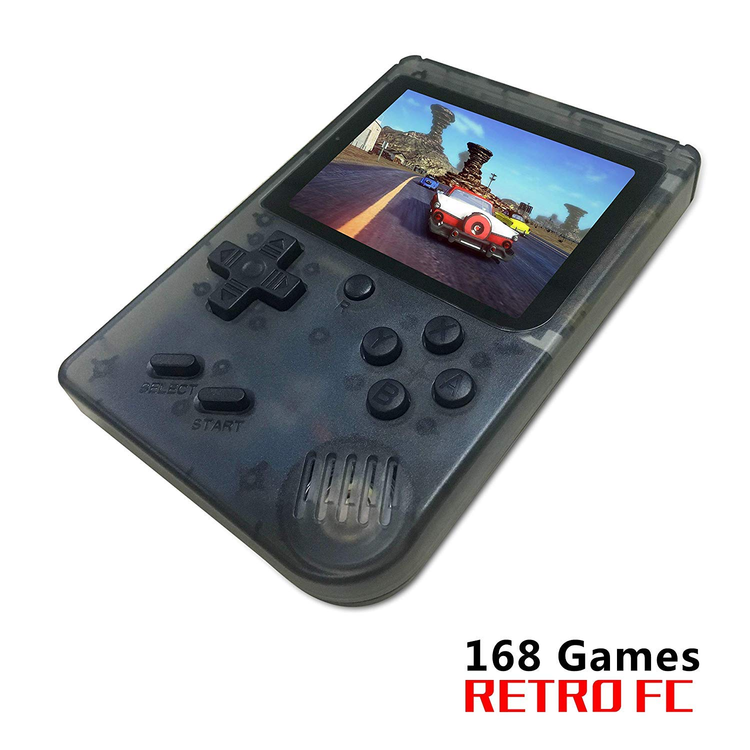 FLYFISH Retro Handheld Game Console,Portable FC Game Console 3 Inch 168 Classic Games , Birthday Present for Children -Transparent Black by FLYFISH (Image #1)