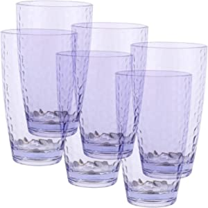 18-ounce Acrylic Glasses Plastic Tumbler, Set of 6 Bright Blue - Hammered Design, Dishwasher safe, BPA Free