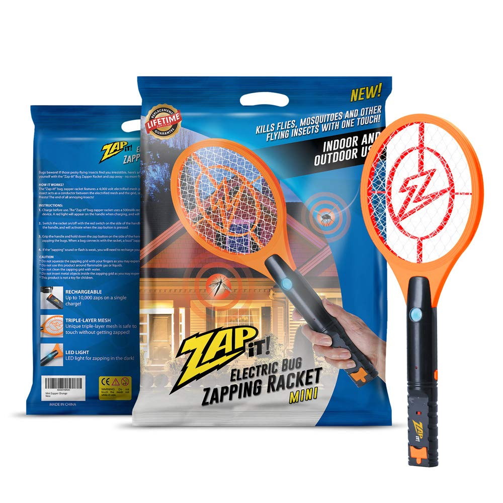 ZAP IT! Mini Bug Zapper - Rechargeable Mosquito, Fly Killer and Bug Zapper Racket - 4,000 Volt - USB Charging, Super-Bright LED Light to Zap in The Dark - Safe to Touch (Orange) by ZAP IT!