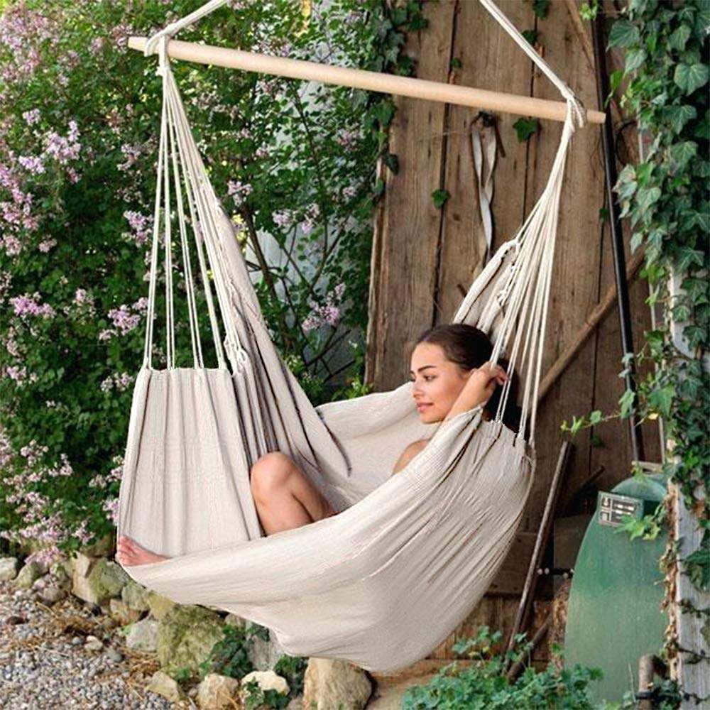 Chihee XXL Hammock Chair Extra Large Sized Hammock Chair Relax Swing Chair Cotton Weave for Superior Comfort Durability Chain Link Hanging Kit Included for Indoor Outdoor Bedroom Patio Yard Garden