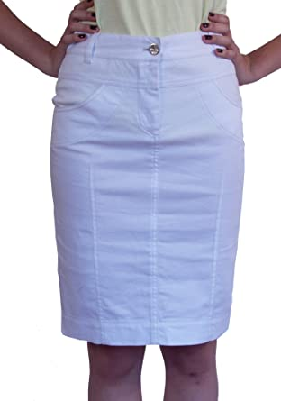 New Ladies Casual Boutique Knee Length Pencil White Denim Skirt UK ...