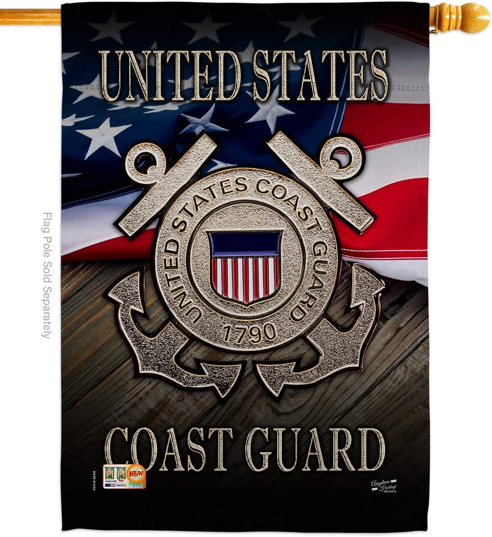 "US Coast Guard Americana Military Veteran Decorative Gift Vertical 28"" x 40"" Double Sided House Flag Made in USA"
