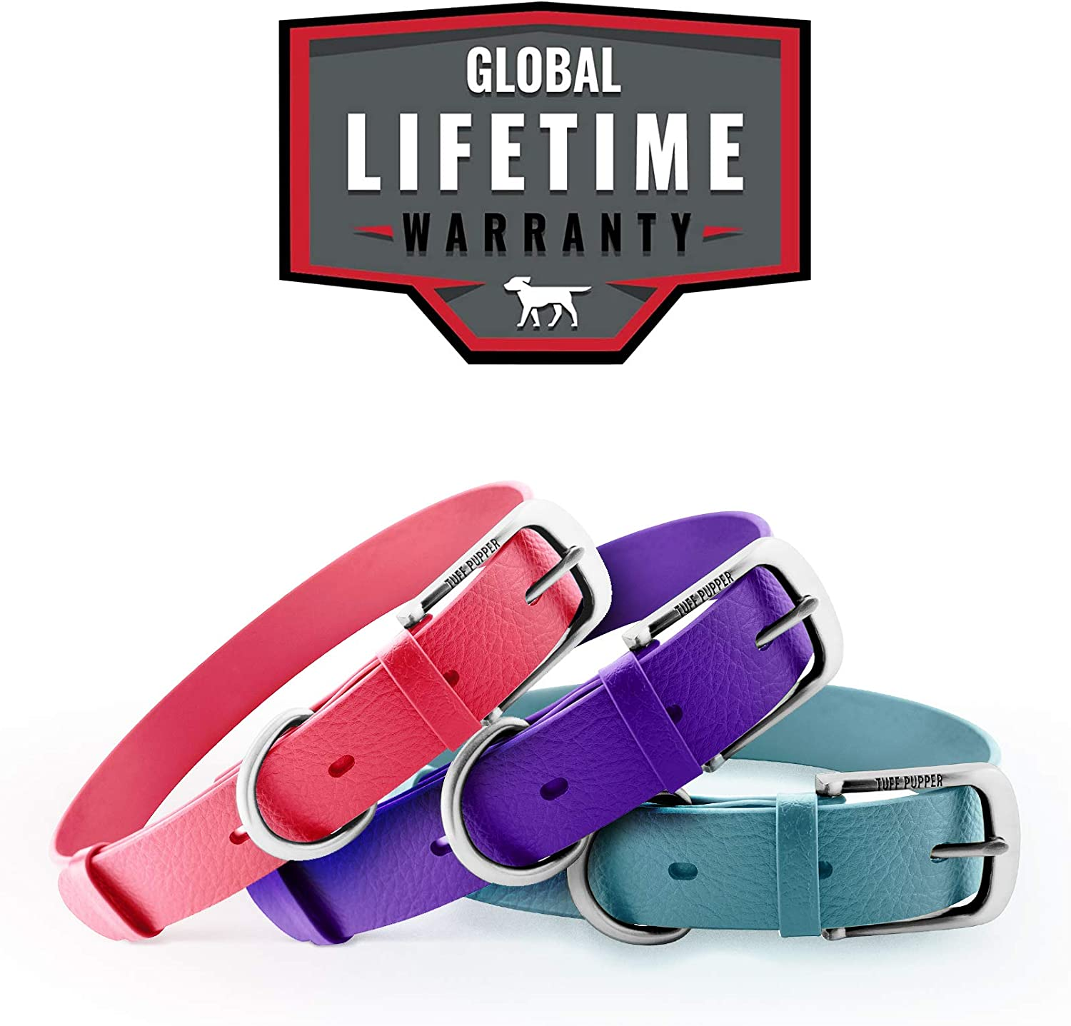 Stronger Than Leather Tuff Pupper Classic Lifetime Heavy Duty Dog Collar Guaranteed for Life Waterproof /& Odor Free