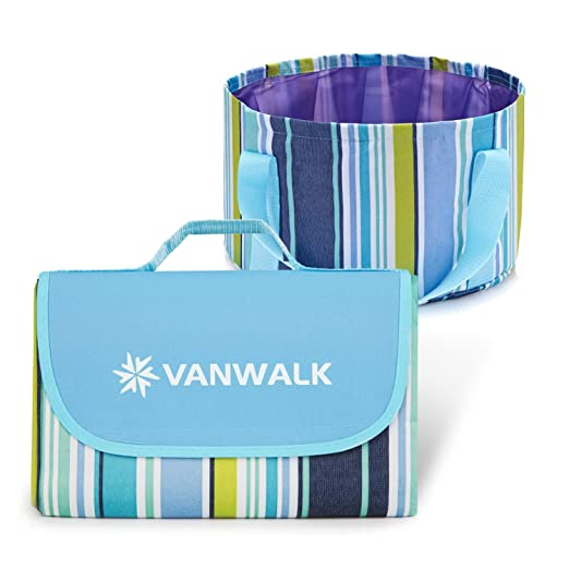 VANWALK Manta de Picnic Alfombra Impermeable Plegable & 12L Cubo ...