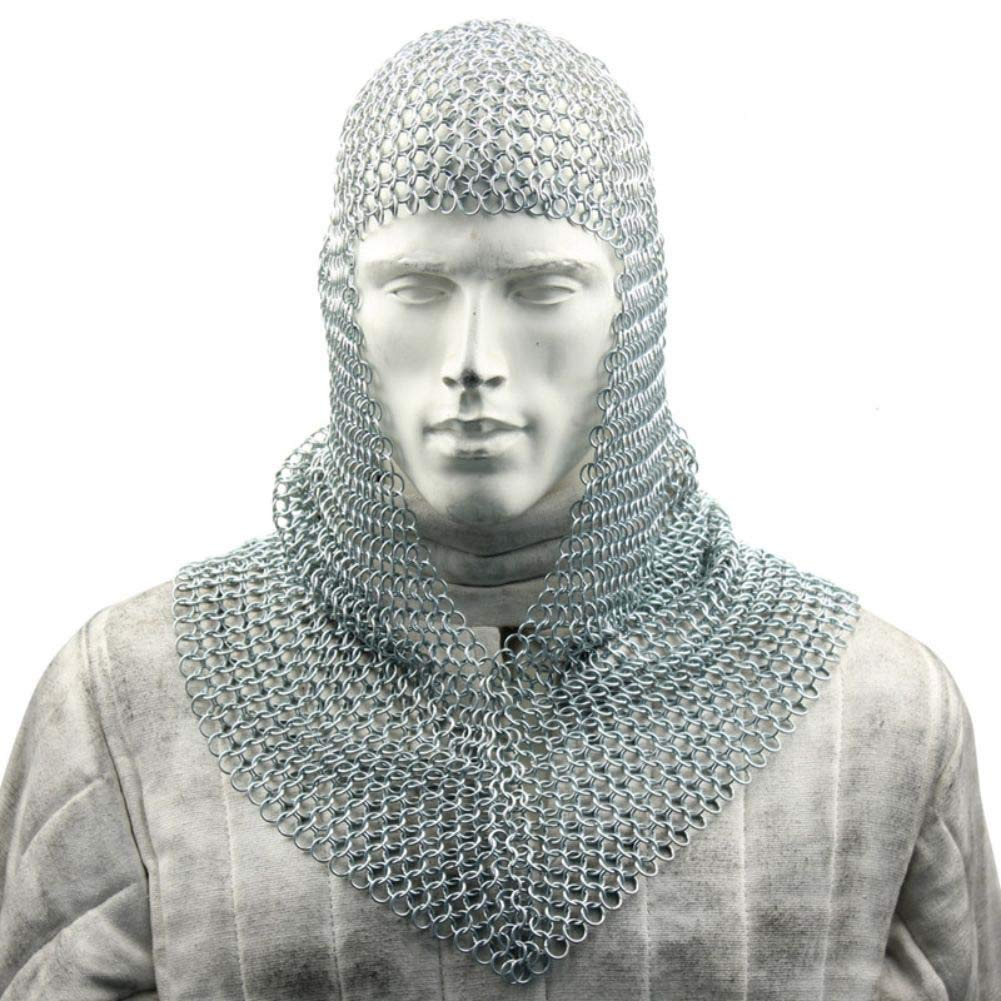 Armory Replicas Medieval Battle Chainmail V Faced Mild Steel Coif IN1402ZP