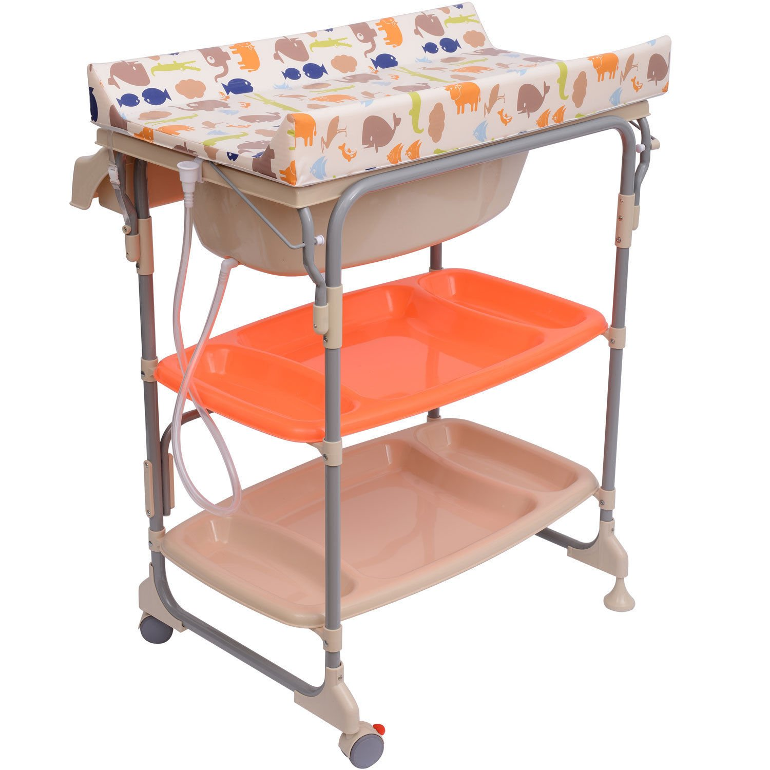 Homcom Baby Changing Table Unit Changing Station Storage Trays and Bath with Tub Brand New Sold by MHSTAR UK66-00010331