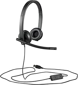 Logitech H570e Wired Headset, Stereo Headphones with Noise-Cancelling Microphone, USB, in-Line Controls with Mute Button, Indicator LED, PC/Mac/Laptop - Black