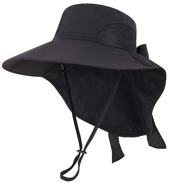 b2146853 Jasmine Floppy Hat Womens Flap Cover Cap UPF 50+ UV Protective Sun Hat,Black