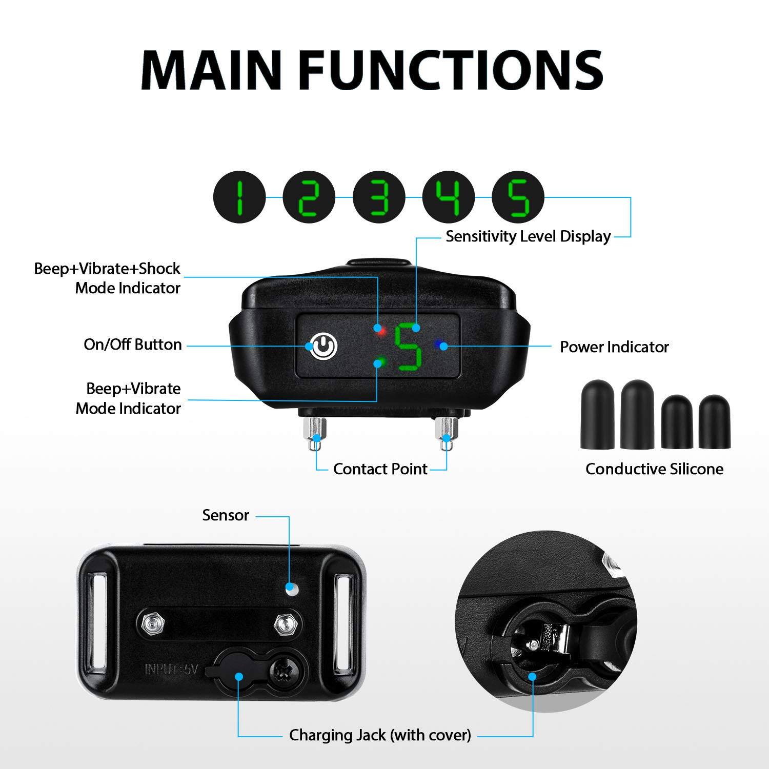 [Newest 2019]Dog Bark Collar-5 Adjustable Sensitivity and Intensity Levels-Dual Anti-Barking Modes-Rechargeable/Rainproof/Reflective -No Barking Control Dog shock Collar for Small Medium Large Dog by PetYeah (Image #3)