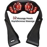 Nackenmassagegerät Shiatsu Massagekissen Elektrisch Massagegerät mit Wärmefunktion für Nacken Schulter 3D Shiatsu Knetmassage mit 32 Anzahl Massageköpfe für Büro Auto Zuhause, 3 Intensitäten