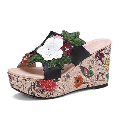 ANNIESHOE Leder Pantoletten Damen Blumen Sandalen Plateau Sommer Orange 38CN 37EU 24cm 3N86v2gB