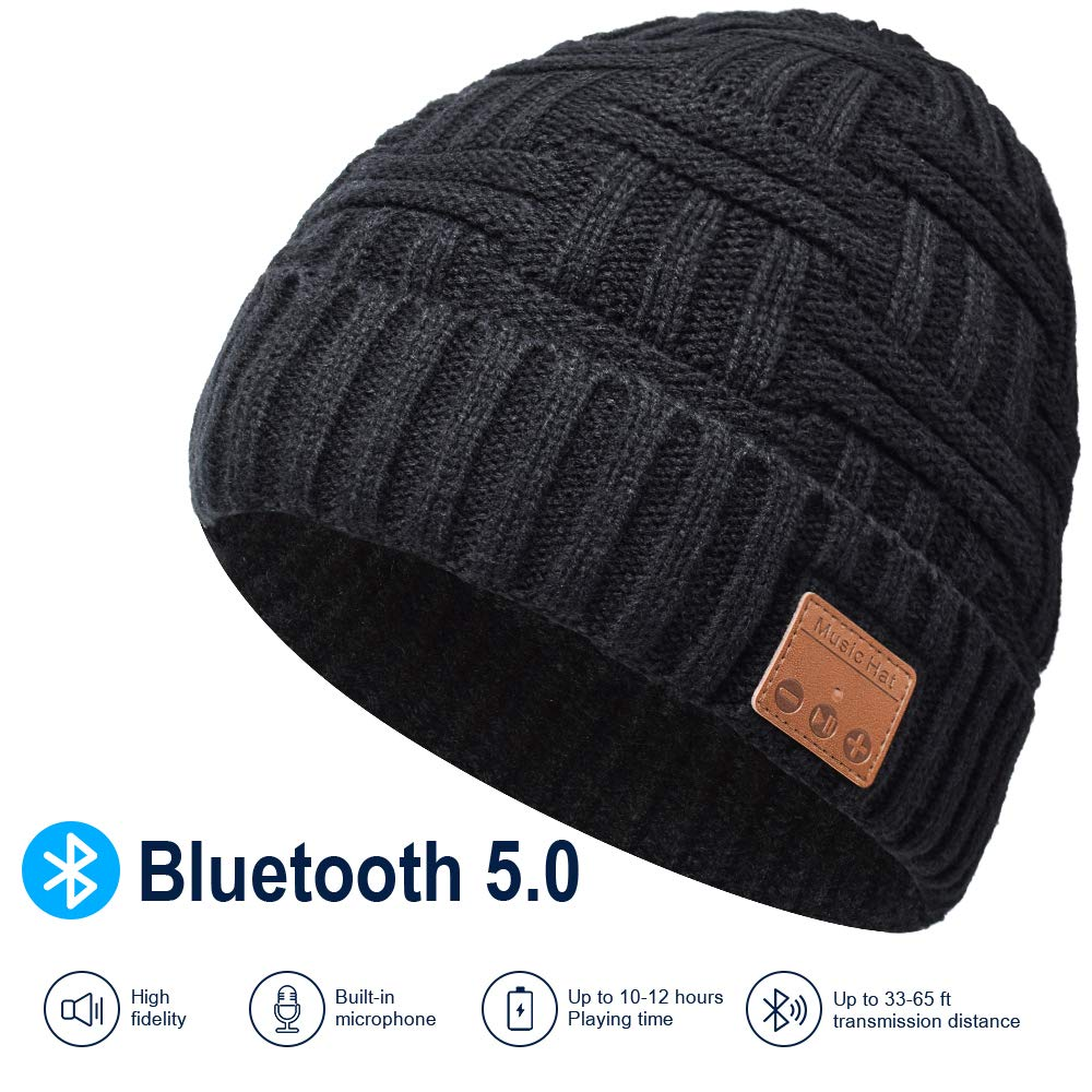 Bluetooth Beanie, Rechargeable Unisex Bluetooth hat, mens gifts with Control Panel, Removable Wireless Earphone hat, Charges via USB, Unique & Delightful for Your Friends, birthday gifts for men women