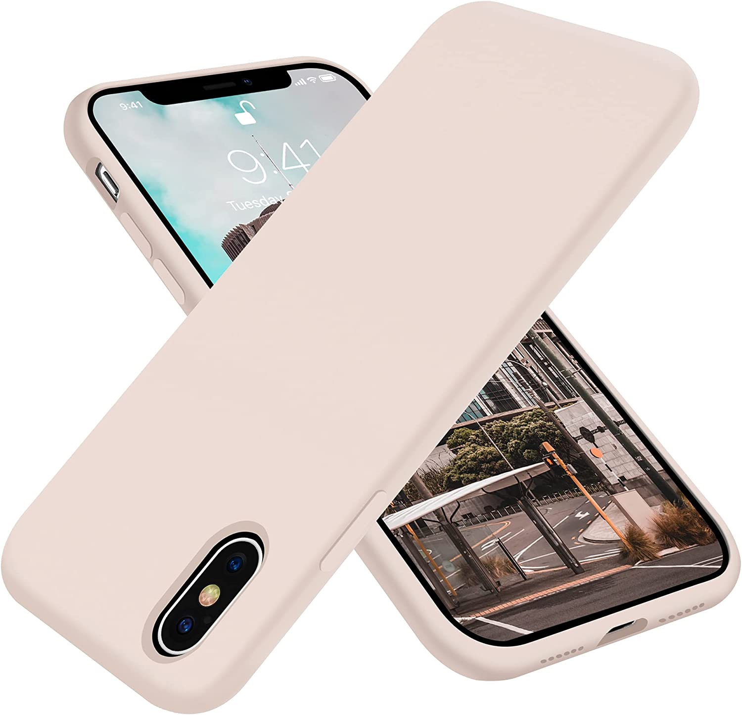 OTOFLY Designed for iPhone X Case,for iPhone Xs Case,[Silky and Soft Touch Series] Premium Soft Liquid Silicone Rubber Full-Body Protective Bumper Case for iPhone X&Xs 5.8 inch,Light Pink