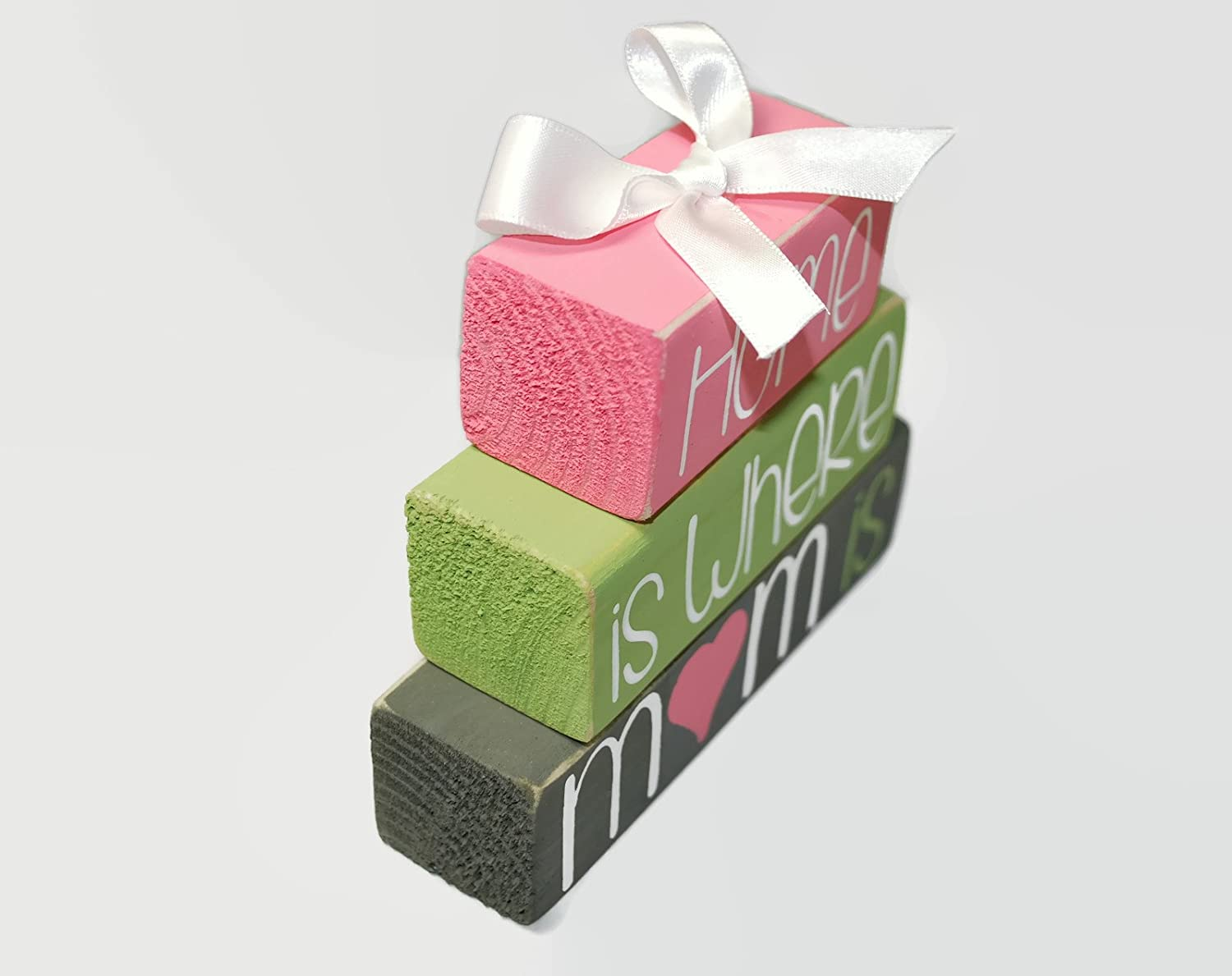 Mothers Day Home Is Where Mom Is WoodenBlock Shelf Sitter Stack mother gift friend sister special person