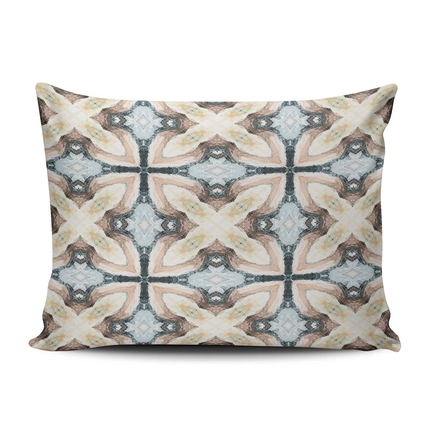 XIUBA Throw Pillow Covers Case Blue Teal Purple Gold Moroccan Tile Pattern Decorative Pillowcase Cushion Cover 26 x 26 inch European Size One Side Design Printed