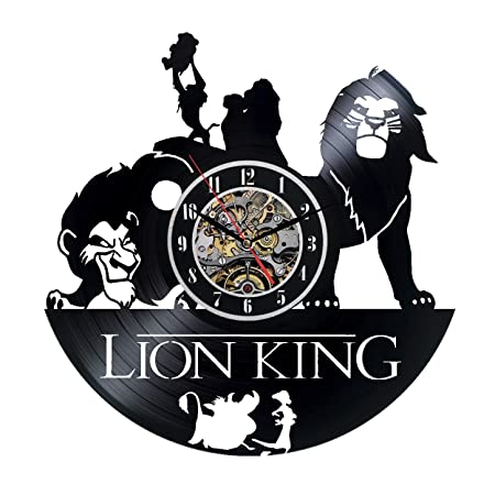 The Lion King Design Vinyl Record Wall Clock – Get Unique Room Wall Decor – Gift Ideas for Boys and Girls – Original Cartoons Fan Art