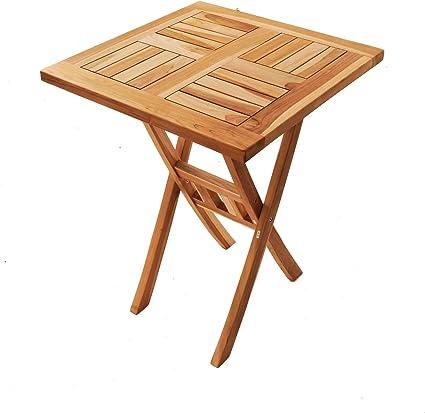 Amazon De Sam Teak Holz Balkontisch Square 60 X 60 Cm Klappbar Fur Balkon Terrasse Oder Garten