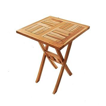 Amazon De Sam Teak Holz Balkontisch Square 60 X 60 Cm Klappbar