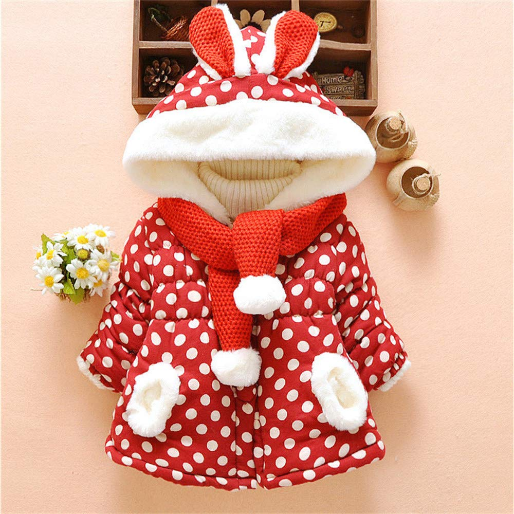 Leegor Baby Toddler Padded Parka Coat Girls Cute Rabbit Ears Hooded Dot Winter Warm Jackets Outerwear