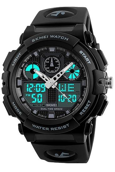 Para hombre Piloto Militar reloj deportivo analógico Digital Dual tiempo cronógrafo alarma warerproof relojes: Amazon.es: Relojes