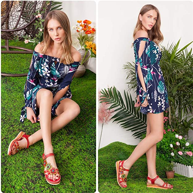 d5913d84fa5a6 Camfosy Women's Sandals Summer Leather Low Wedge Platform Sandals Beach  Flat Shoes Non Slip Casual Wide Fit Shoes