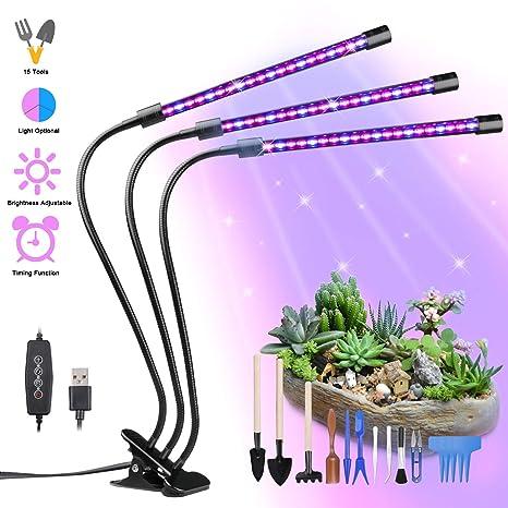 Lámpara de Plantas, Yokunat 60 LED Luz de la Planta Iluminación 27W con 15 Herramientas de Jardinería, 3 Modos de Lluminación, 5 Niveles Regulables, ...