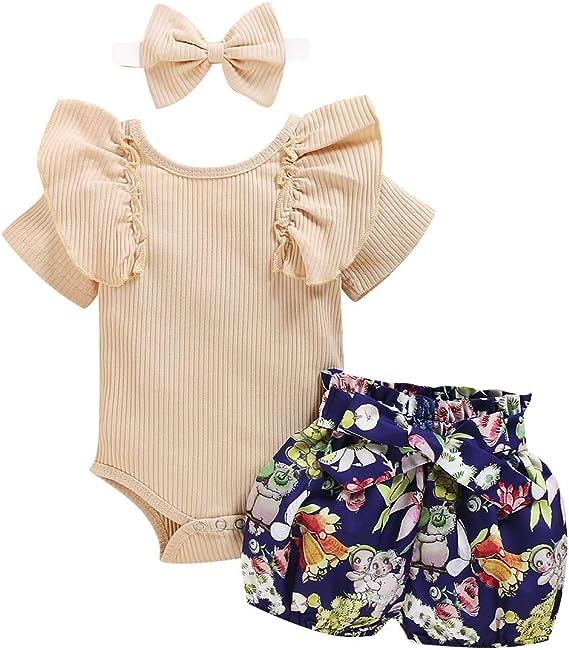 Newborn Baby Girl Summer Bloomer Set Rainbwn Romper Top Ruffle Briefs Shorts Pants Cut 3PCS Clothes Outfits