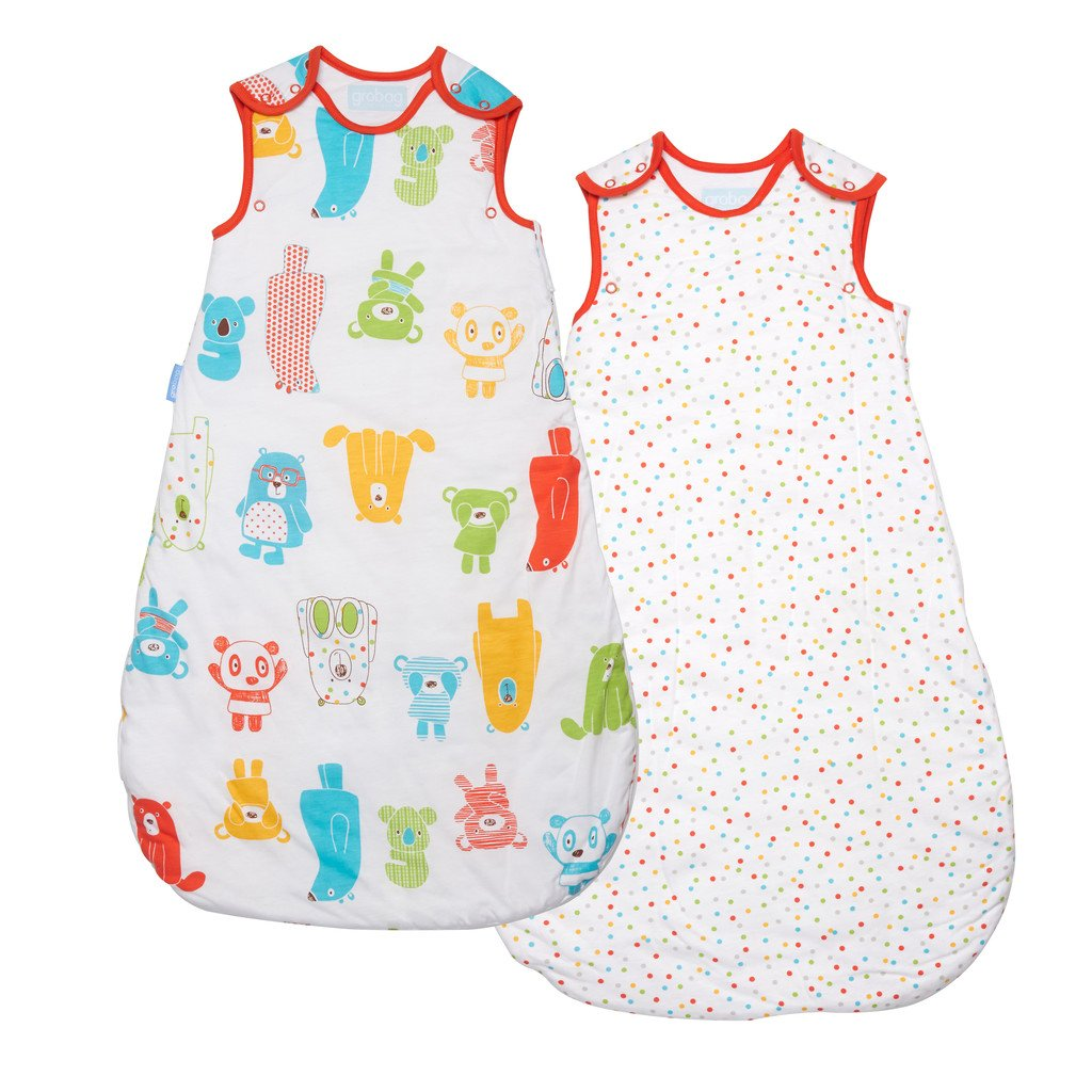 0-6 Months 2.5 Tog The Gro Company Rainbow Stripe Grobag Baby Sleeping Bag Wash and Wear Twin Pack