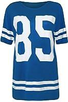 WearAll - Damen '85' Druck Kurzarm Baseball Trikot T-Shirt Top - Schwarz - Größe 36-42