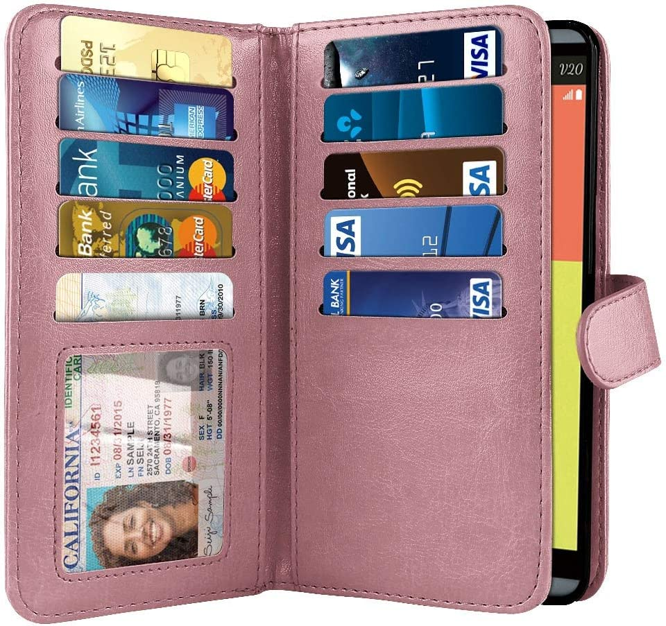 NEXTKIN Case Compatible with LG V20 VS995 H990 LS997 H910 H918 US996, Leather Dual Wallet Folio TPU Cover, 2 Large Pockets Double Flap, Multi Card Slots Snap Button Strap for LG V20 - Rose Gold