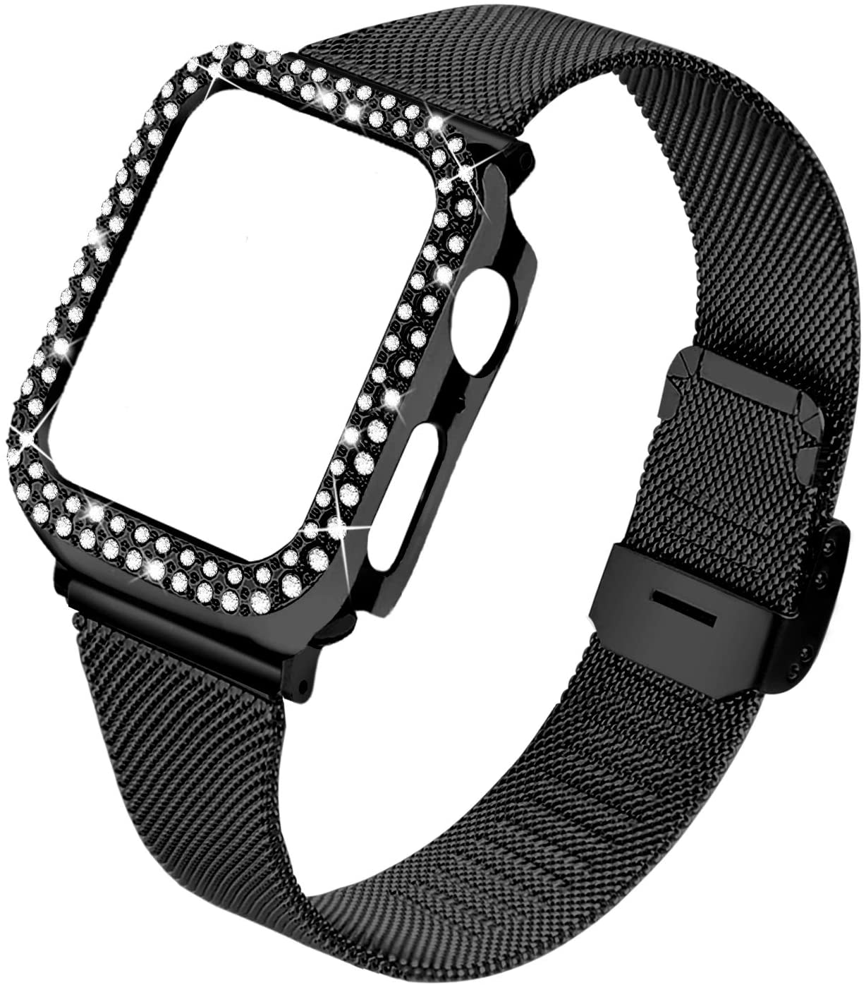 Joyozy Stainless Steel Mesh bands Compatible For Apple Watch 38mm,Women Bling Protective Crystal Diamond Case with Loop Mesh Strap For Apple watch Series 3/2/1(No Tool Needed)(Black, 38MM)