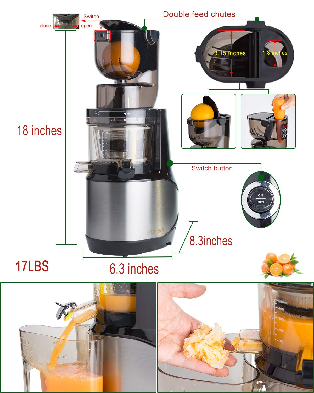 Masticating Juicer,Whole Slow Juicer Extractor by Vitalisci,Cold Press Juicer Machine,Anti-Oxidation for Fruit and Vegetable,Easy to Clean and BPA Free,(300W AC Motor/3.15'' Wide Chute/40 RPMs)-Silver by Vitalisci (Image #2)