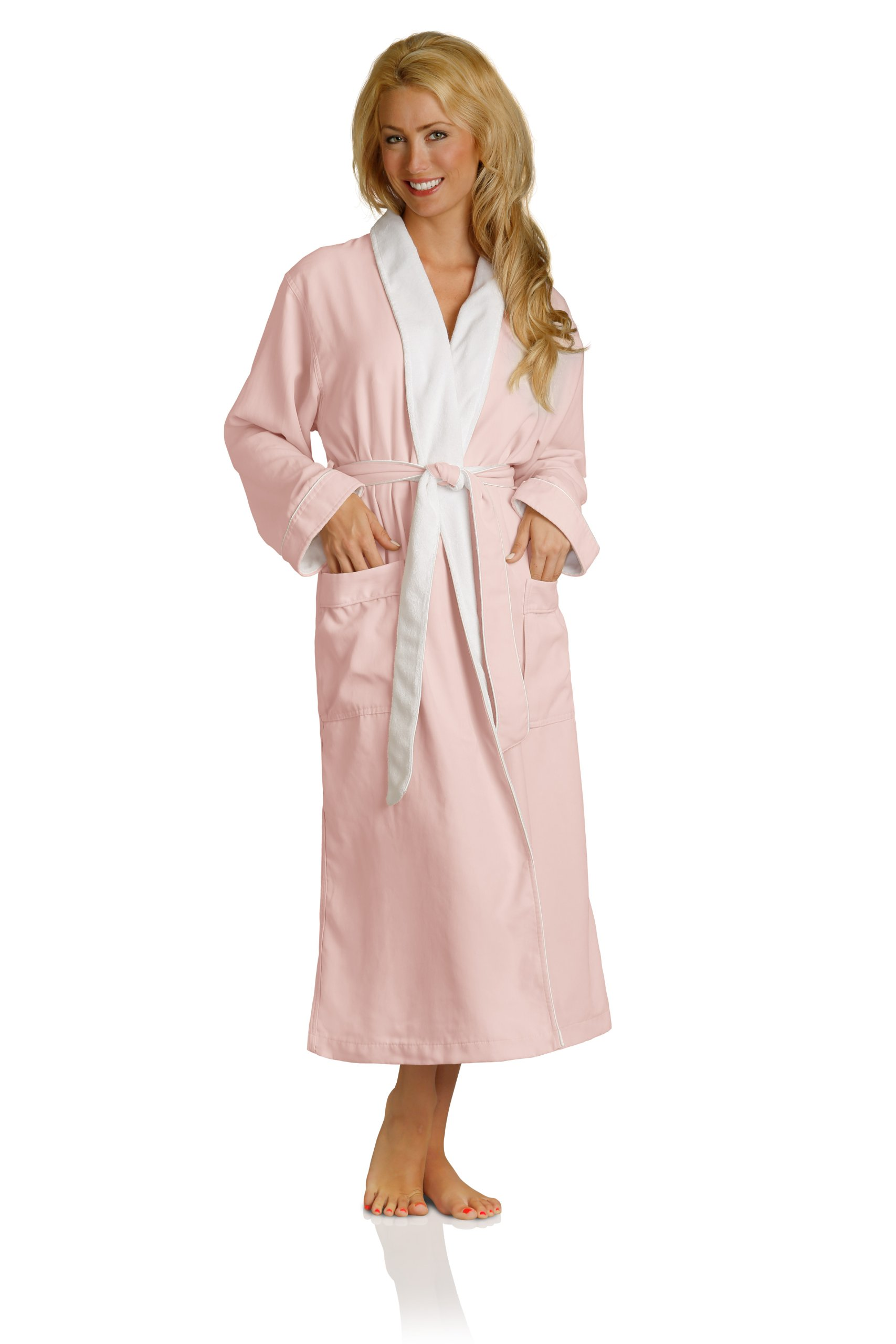 Luxury Spa Robe - Microfiber with Cotton Terry Lining, Pink, XXX-Large