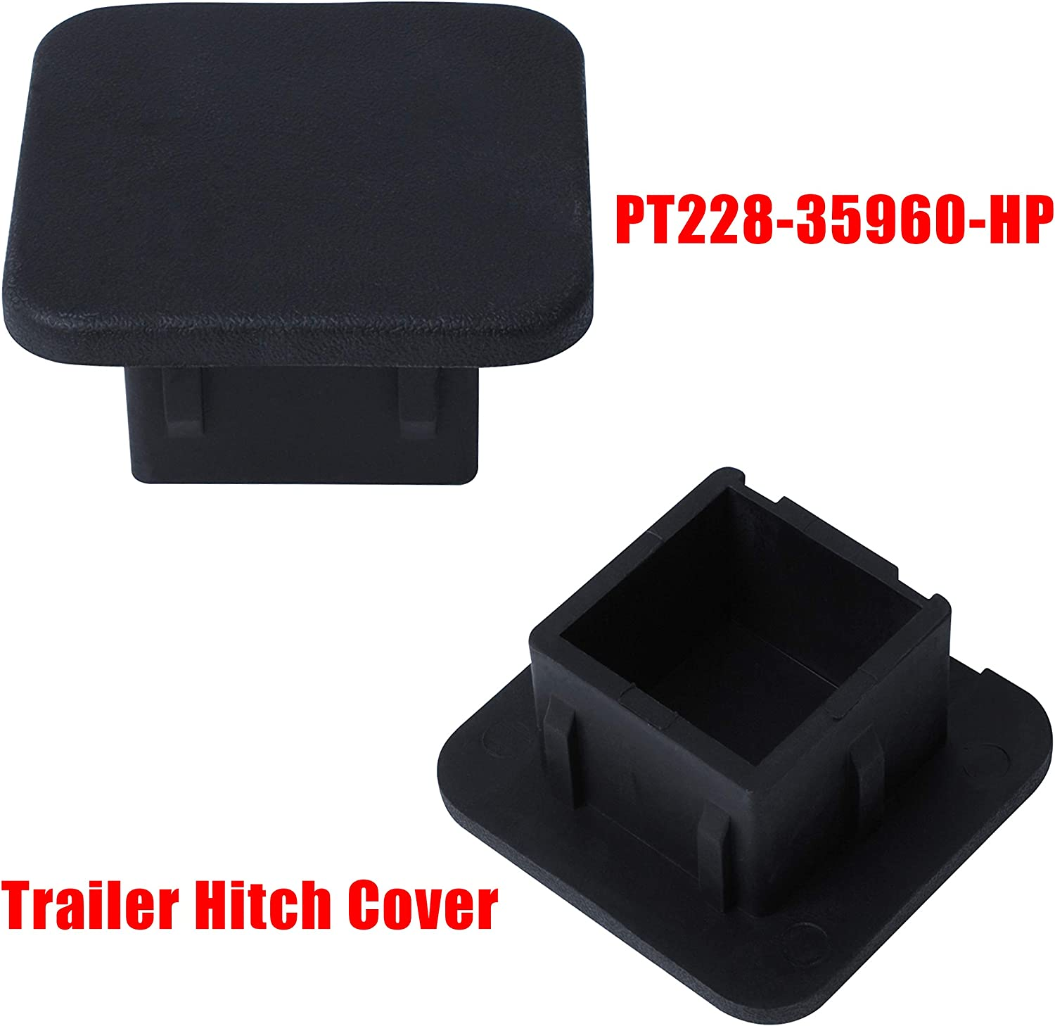 wadoy PT228-35960-HP Trailer Hitch Cover 2 Pack Cover Replacement for Toyota Accessories Receiver Tube Hitch Plug