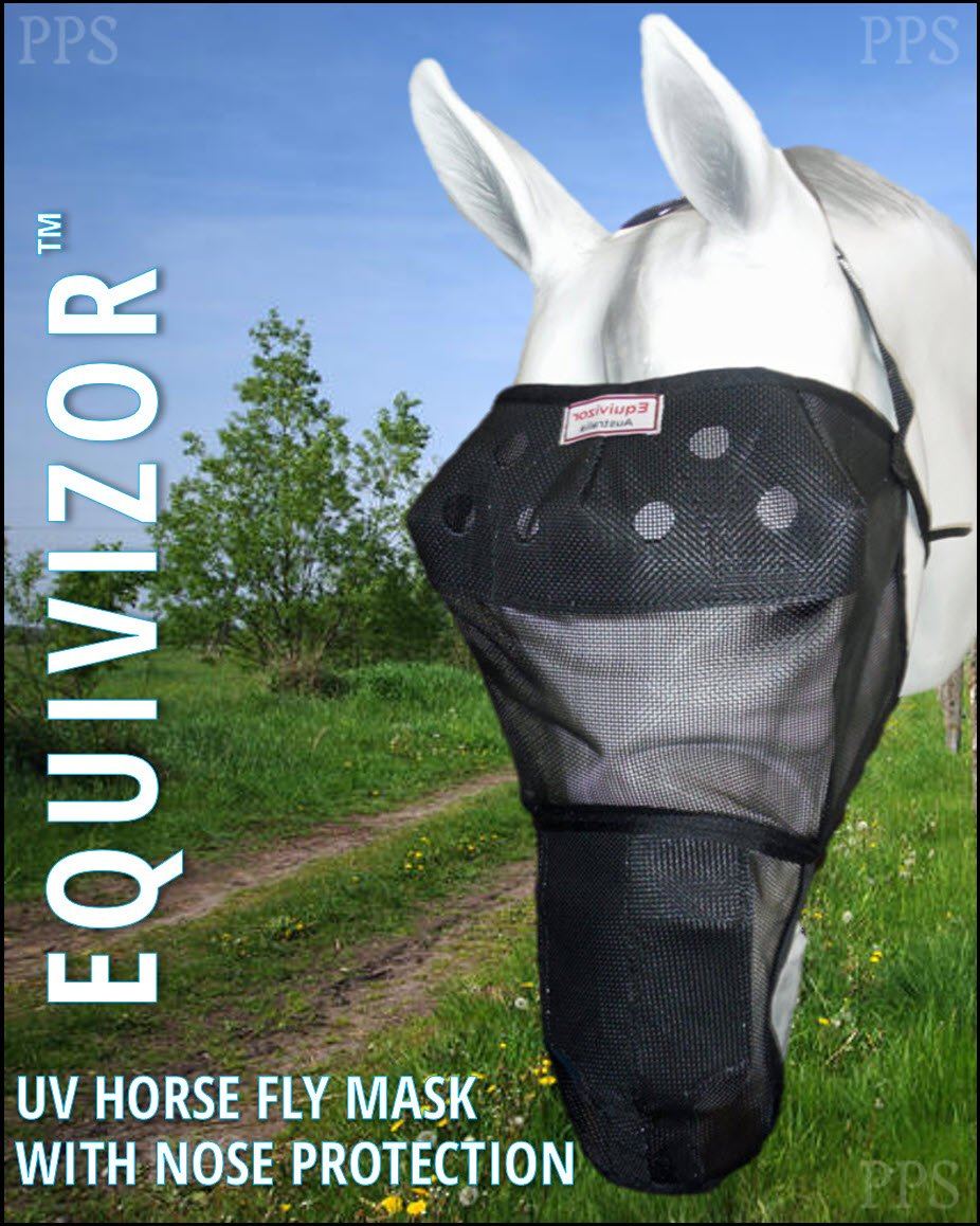 EquiVizor 95% UV Eye Protection (XL) Horse Fly Mask with Nose - Insects, Dust, Debris, Uveitis, Corneal Ulcer, Cataract, Light Sensitive, Cancer. Designed to Stay On Your Horse, Off The Ground! by EquiVizor UV Fly Masks