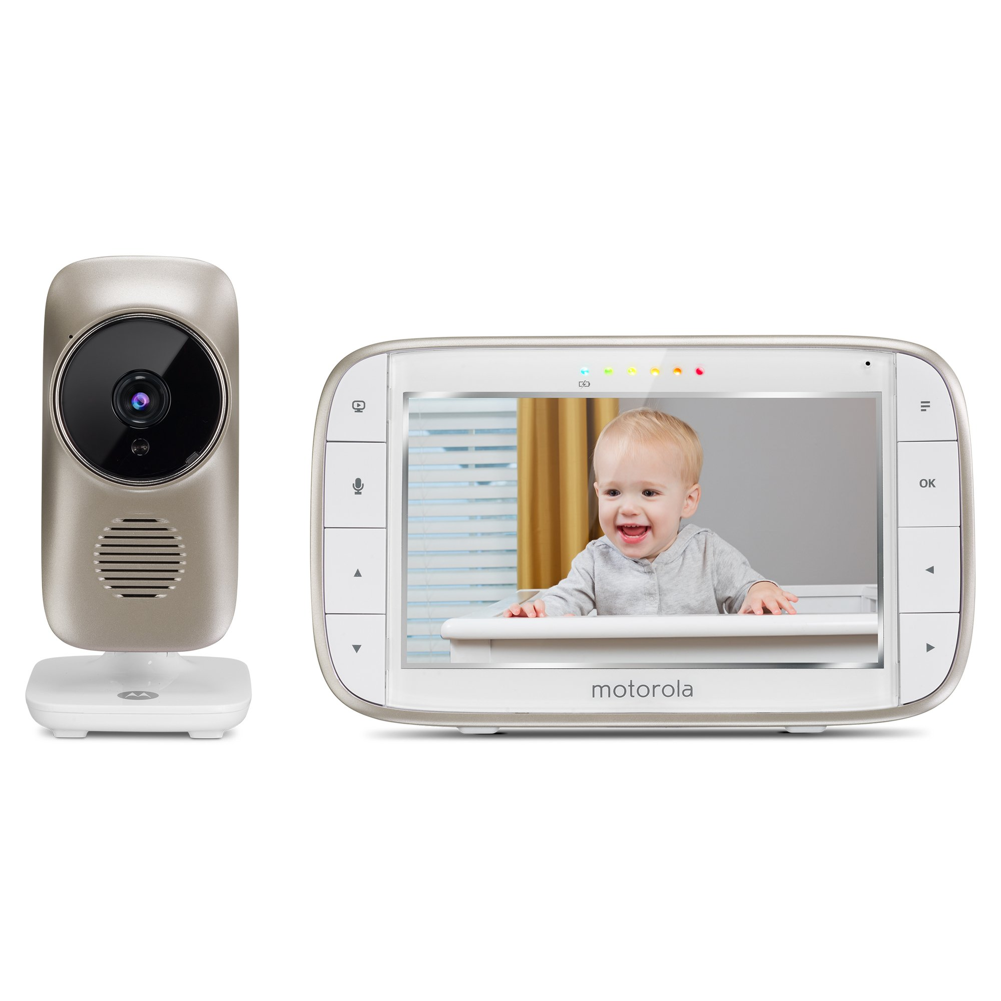 Motorola MBP845Connect Video Baby Monitor with Wi-Fi, 5-Inch Color Screen, Digital Zoom, Two-Way Audio, Infrared Night Vision, and Room Temperature Display