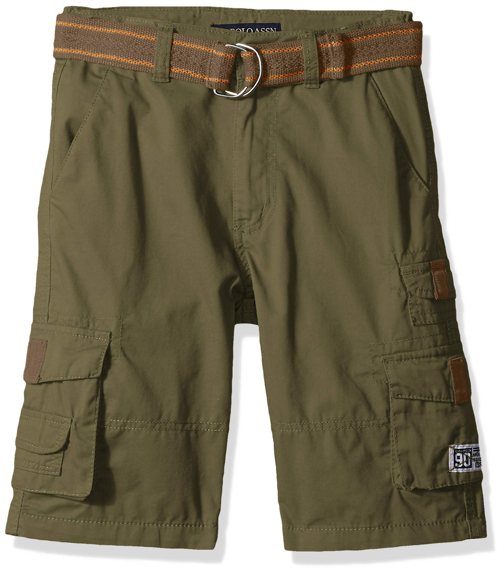 U.S. Polo Assn. Boys' Big Belted Cargo Short, Olive, 10