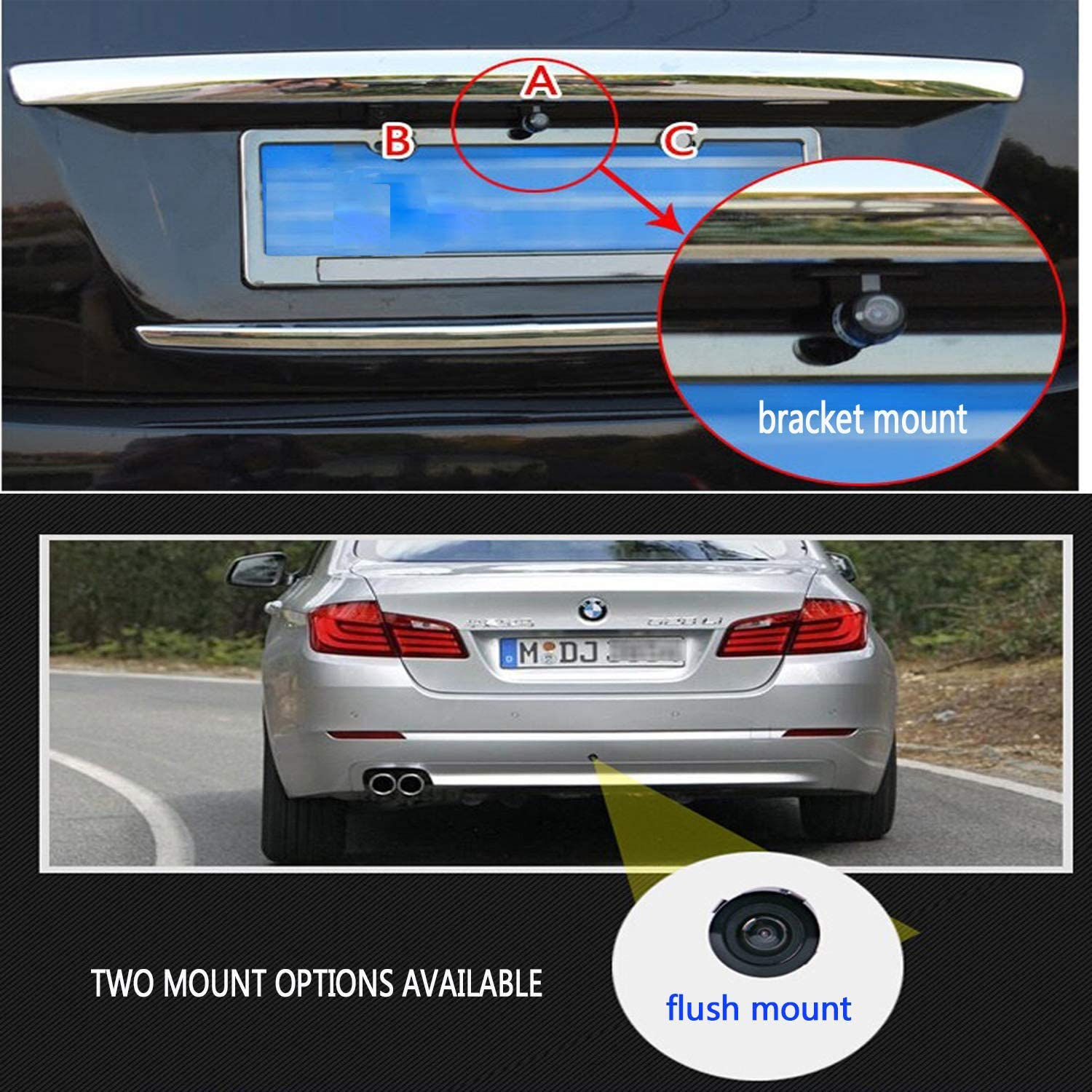 Backup Camera for Car,Casoda HD Wide View Angle 2-in-1 Universal Car Front Side Rear View Reverse Camera,2 Installation Options Removable Guildlines,Mirror Non-Mirror Image 12V Only