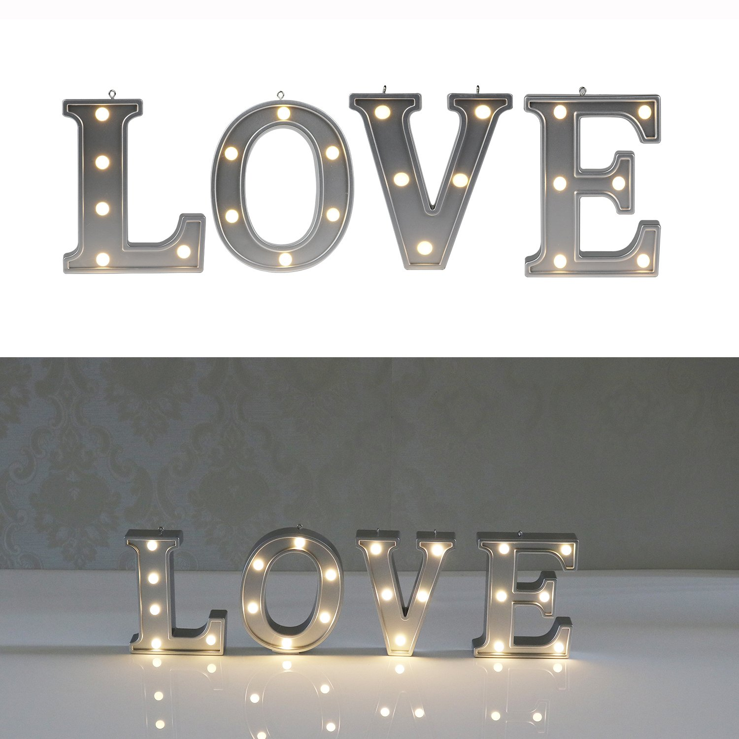 Decorative Illuminated Marquee Word Sign (Silver Color 4.21'' Tall) - Lighted Letter Words and Signs for Home Bedroom Office Wedding Table Wall Decor - Love