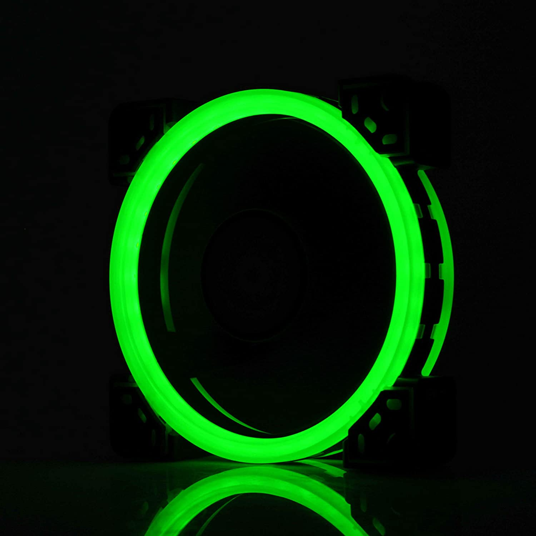 GOLDEN FIELD Ventilateur de Boitier Dual Light Loop avec 33 LEDs,Ultra Silencieux 120mm Refroidisseur pour Bo/îtier dordinateur Rouge