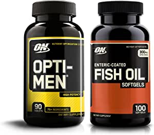 Optimum Nutrition Opti-Men High Potency Multi-Vitamin 90 Count + Fish Oil 100 Count Soft gels