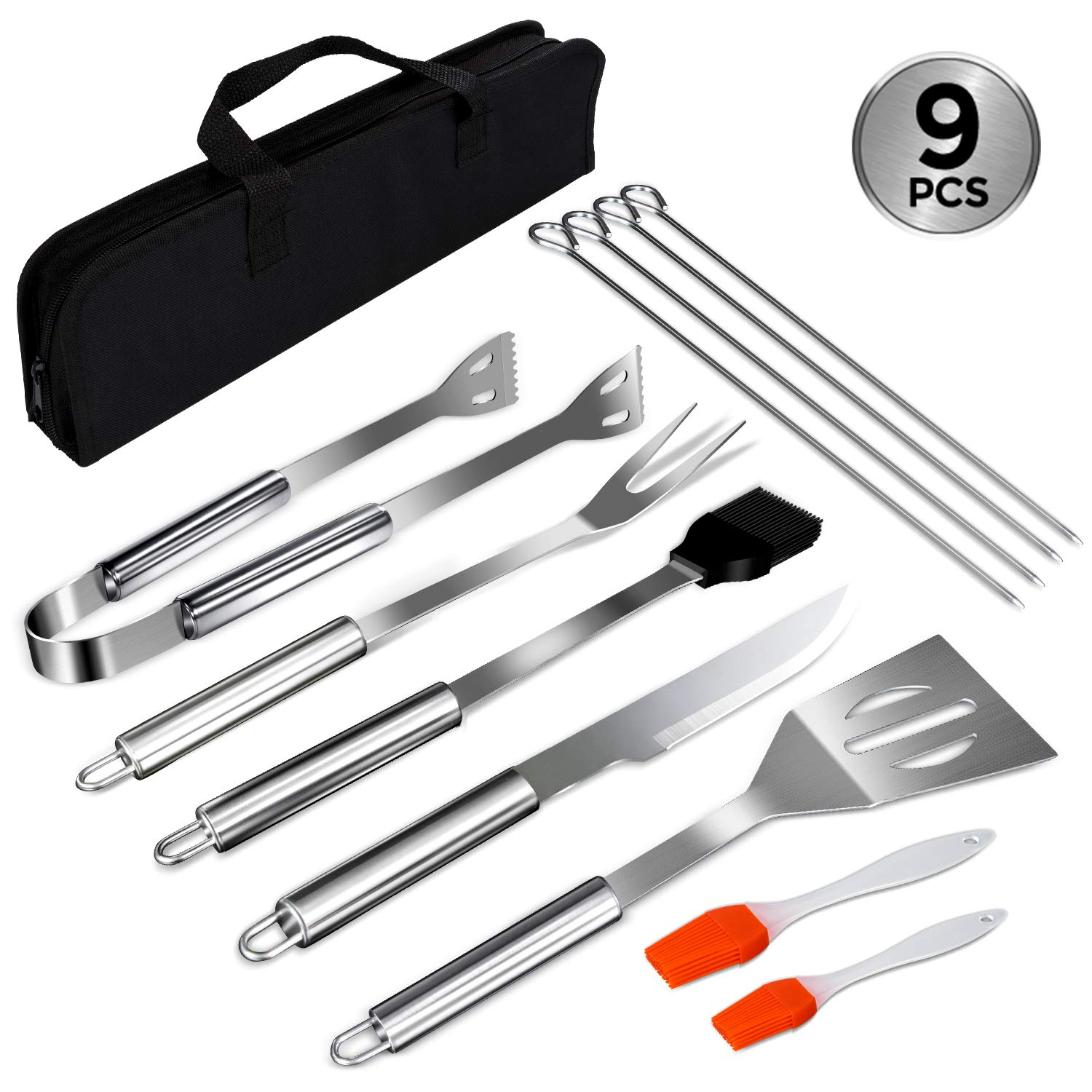 Mastertop 9Pcs Multi Purpose Stainless-Steel BBQ Tools Set with Storage Bag Spatula, Fork, Tongs,Knife, 4 Pcs Skewers,Stainless Steel Basting Brush and 2 Pcs Extra Brush As Gift