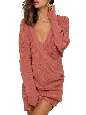 Simplee Apparel Damen Winter Kleid Elegant Langarm Kreuz V-Ausschnitt  Schulterfrei Bodycon Strickkleid Rot b5a8295459