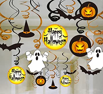 30ct halloween hanging swirl ceiling haunted house decorations family kid friendly pumpkin witches