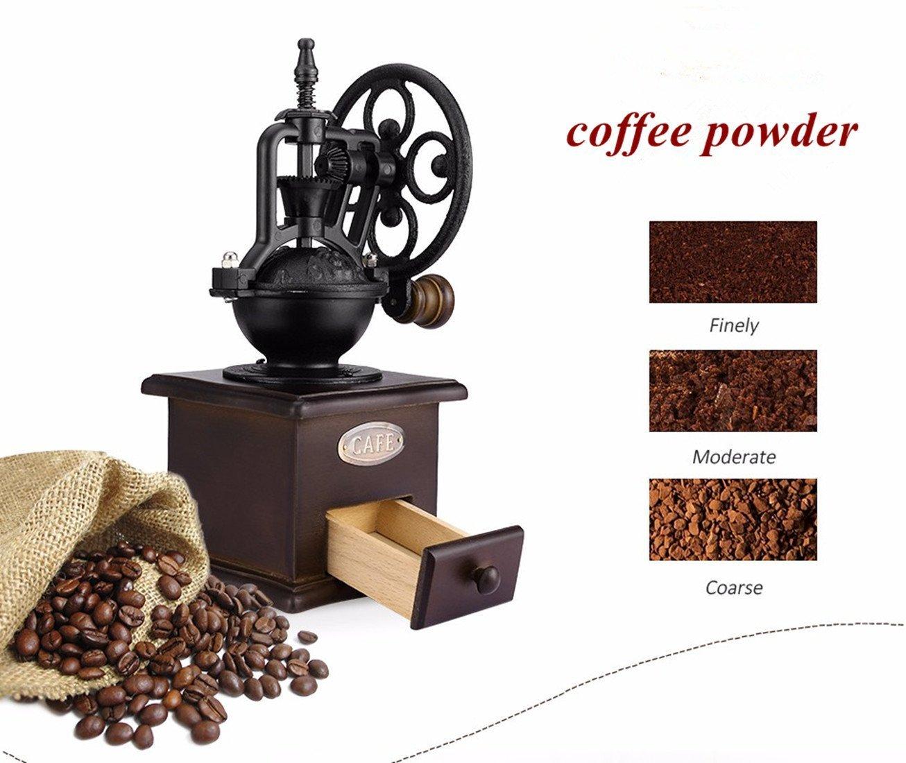 Fecihor Molinillo de Café Manual Vintage Mano Molinillo de Café Madera Estilo Máquina de Café para Café Espresso, Semilla, Especia, Pimienta: Amazon.es: ...