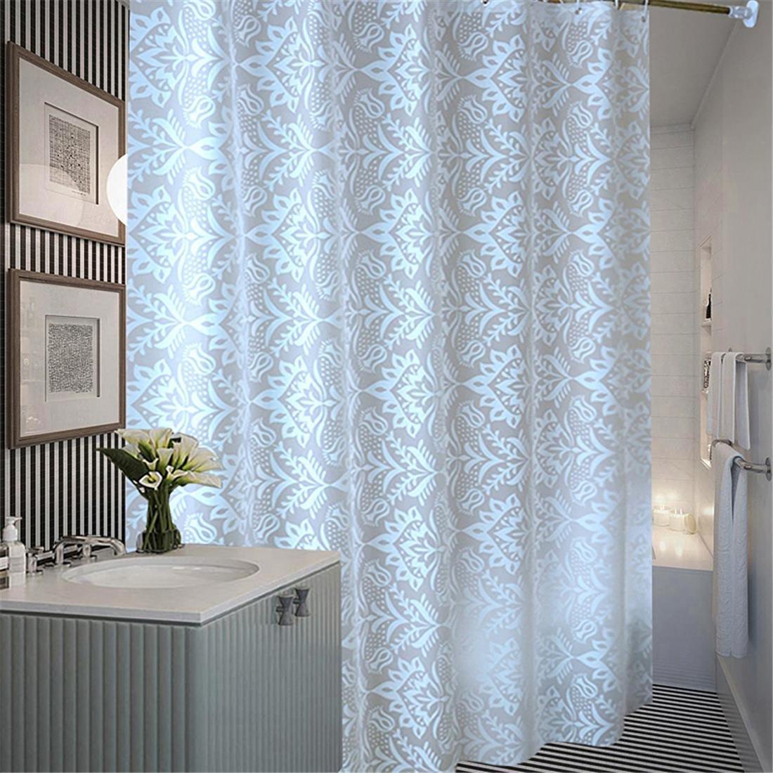 Plastic Translucent Shower Curtain, Extra Long White Pattern Mildew ...