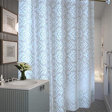 Plastic Translucent Shower Curtain Extra Long White Pattern Mildew Resistant Waterproof Bathroom No Transparent With