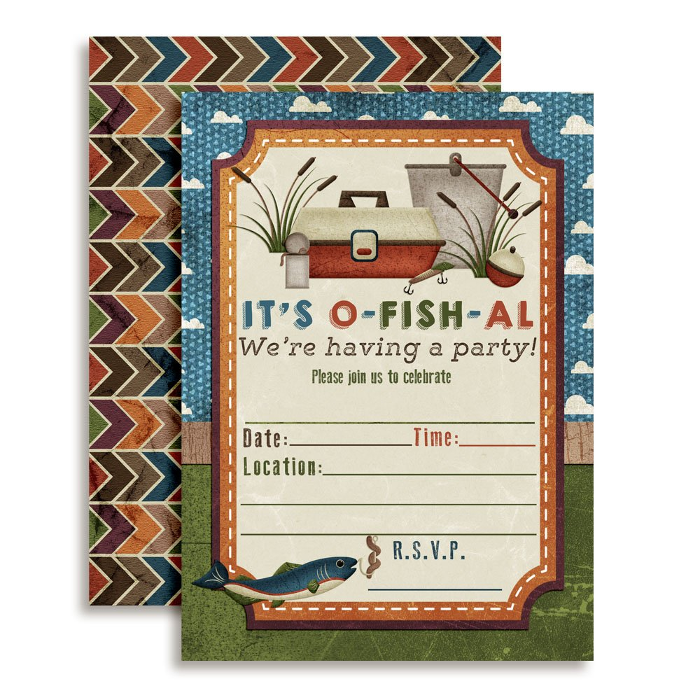 Fishing Themed Birthday Party Celebration Invitations for Boys, 20 5''x7'' Fill in Cards with Twenty White Envelopes by AmandaCreation