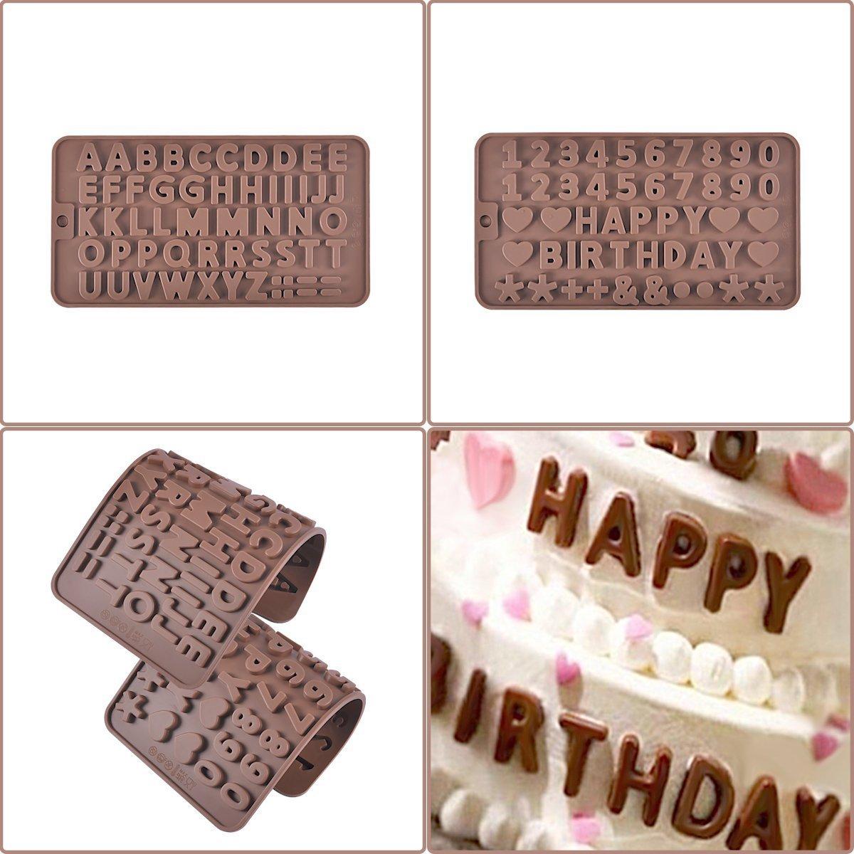 Prokitchen Molde de Silicona de la A hasta la Z para la decoración de pasteles de cumpleaños y chocolates (Set de 2): Amazon.es: Hogar