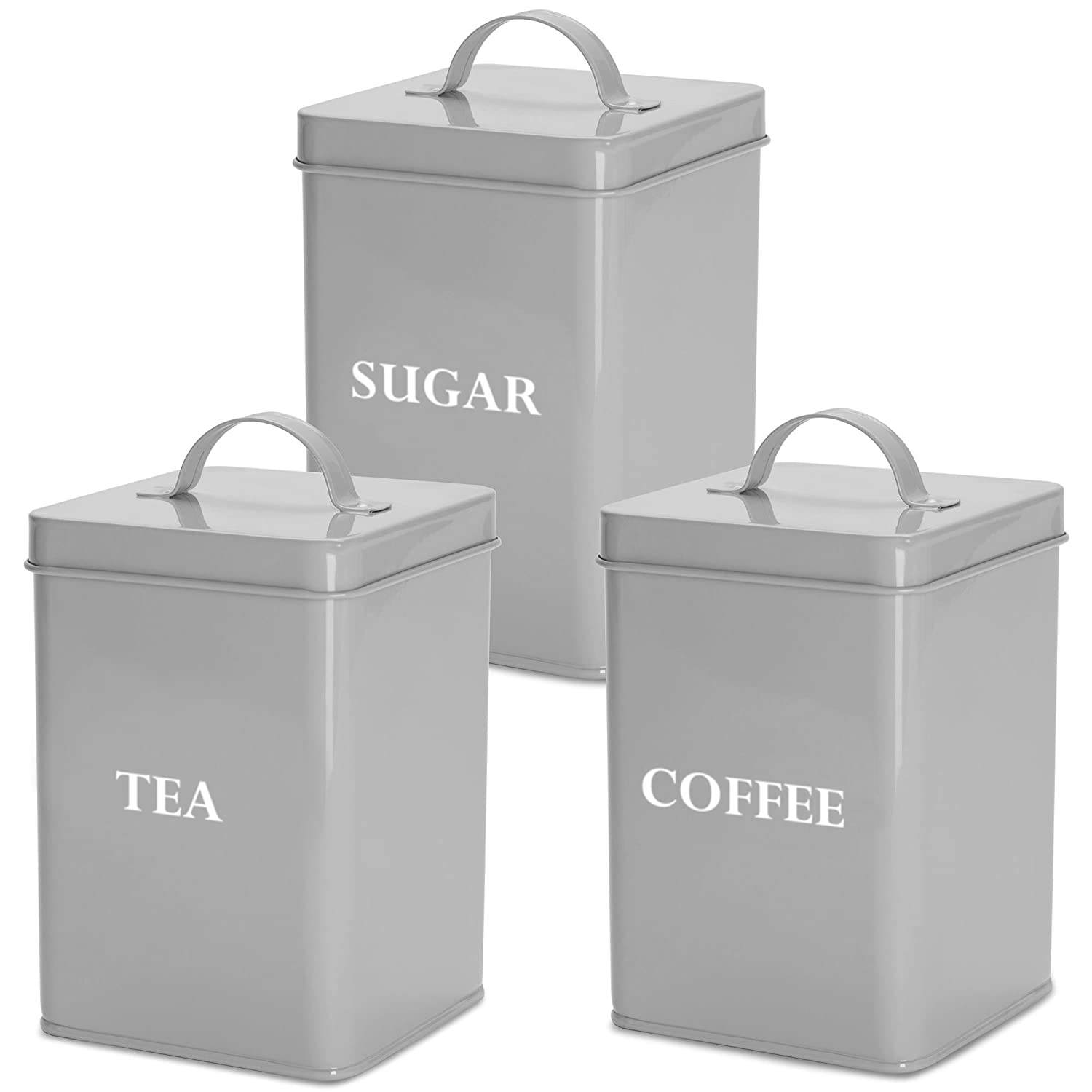 Andrew James Tea Coffee Sugar Canisters | Vintage Style Kitchen Storage Set | Rust Resistant Powder Coated Iron | Grey with White Text Labels